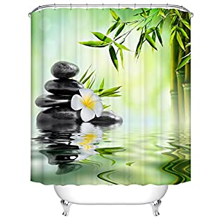 Waterproof Polyester Fabric Bathroom Shower Curtain, Qile Mildew-Resistant Anti-Bacterial 3D Digital Printing Pattern Shower Curtains with 12 Ring Hooks, 180 x180cm