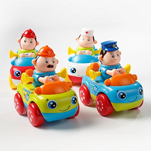 Smartcraft Push and Go Friction Powered Car Toys, Professional Team of a doctor, engineer , police , fireman (Pack of 4 professionals), Premium Quality and Safe for Kids
