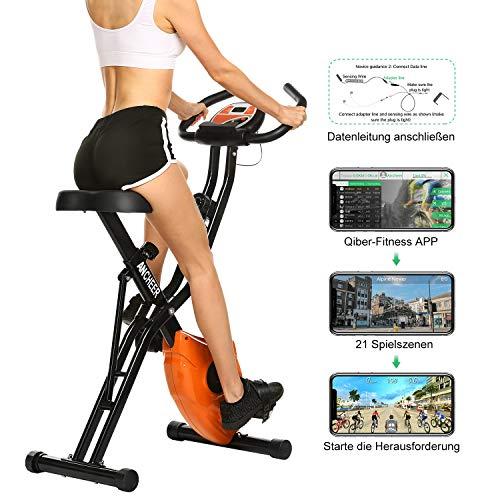 ANCHEER F-Bike, Klappbar Heimtrainer mit APP-Simulationsspiel, Fitness Fahrrad mit 10 Widerstandsstufen, Fitnessbikes mit Handpulssensoren für Zuhause Büro Training, bis 120 kg