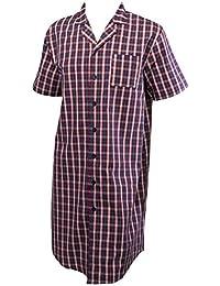 06f7628205 Walker Reid Mens Checked Nightshirt 100% Cotton Twill Button Up Traditional  Nightwear (Red)