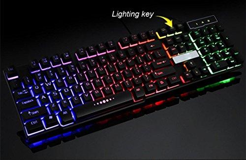 7Farben professionelle Game Tastatur, mamum bunt Crack LED Beleuchteter USB Wired PC Rainbow Gaming Tastatur Einheitsgröße schwarz - 4