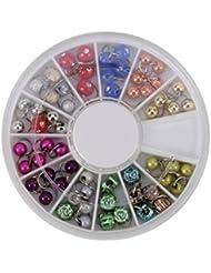 NDED Nagel-Piercing Set im Rondell mit Nailart Piercing Perlen, Kugeln glänzend, bunt