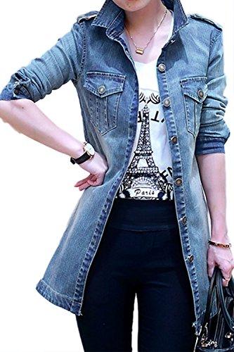 Le donne sono aperti davanti lunga giacca jeans. blue xl