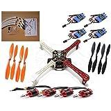 Hobby-Fun Juego de Estructura de ATF de 4 ejes Quadcopter con 4 piezas en DJI 920KV de motor sin escobillas y 4 piezas en DYS Simonk 30A ESC y 4 pares 1045 Puntales