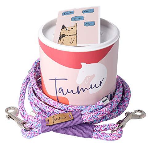 stellbare Hunde Tauleine - lila/rosa/hellblau/weiß - Leine für mittelgroße Hunde aus robustem PPM ()