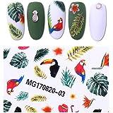 bonniestore 1hoja de tucán selva Tropical Pegatina de Uñas 3d flores y pájaros DIY uñas arte–transferencia de vinilo para las mujeres decoración accesorios