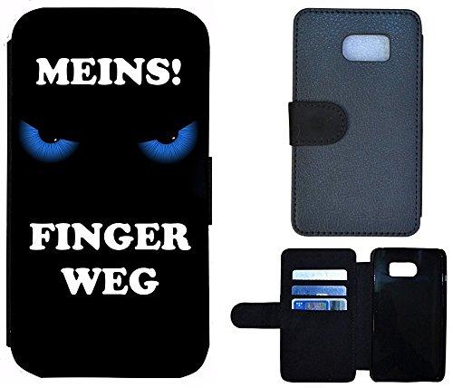 Schutz Hülle Flip Cover Handy Tasche Etui Case für (Apple iPhone 6 / 6s, 2011 Meins Finger Weg Rot Schwarz) 2010 Meins Finger Weg Blau Schwarz