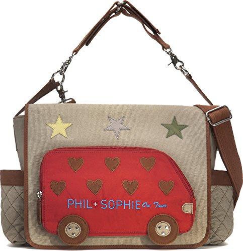 PHIL+SOPHIE, Cntmp, Damen Wickeltasche, Handtasche, Diaper Bag, Babytasche, Buggy-Tasche, 44 x 30,5 x 9 cm (B x H x T), Farbe:Grau (Hellgrau)