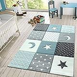 TT Home Alfombra Infantil Juego Cuadros Estrellas Luna Pastel Turquesa Blanco Gris, Größe:80x150 cm