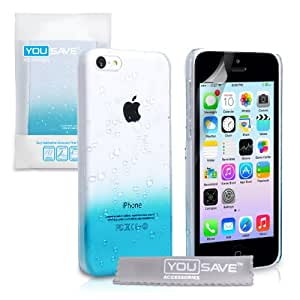 Yousave Accessories Raindrop Hard Cover Case for iPhone 5C - Blue/Clear