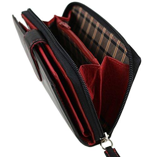 Ladies Medio PELLE LISCIA con zip borsa/portafoglio da Golunski; Zen Collezione Black & Red