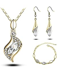 Sunita's American Diamond Gold Plated Pendant Set With Chain , Earrings And Free Bracelet For Girls And Women