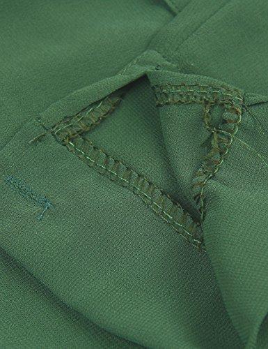 Shinekoo® Femme Sexy Col V T-shirt à Manches Longues en Mousseline de Soie Tops Vert foncé