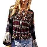 Bluester Summer Womens Vintage Boho Long Sleeve Sexy Blouse Loose Tops T-Shirt (M, Coffee)