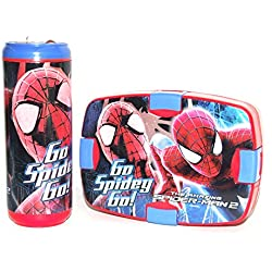 Cello Spiderman Combo Plastic Lunch Box Set, 2-Pieces, Blue/Red