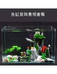JXC-Décoration d'aquarium de poissons de l'eau simulation rocaille roue pierre aquatique,UN