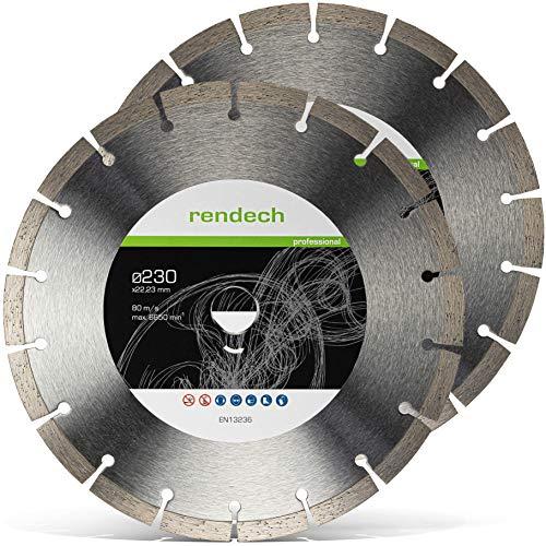 2x Diamanttrennscheibe 230 mm x 22,23mm - Universal für Beton, Granit, Stein, Pflaster uvm. - Diamant Trennscheibe in Profi Qualität (2er Pack)