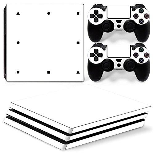 Morbuy Ps4 Pro Skin Consola Design Foils Vinyl Pegatina Sticker Decal And 2 Playstation 4 Pro Dualshock Controlador Skins Set (Only White)