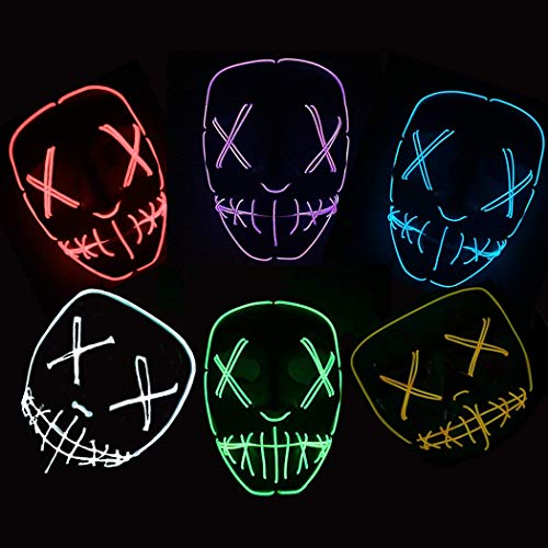Fansport Halloween Kostüm Maske Leuchtenden Schädel Voller Gesichtsmaske Horror Skelett Cosplay Masquerade Scary EL Draht führte Licht Blinkende Maske Glühen in Dunkel für Karneval Festival ()