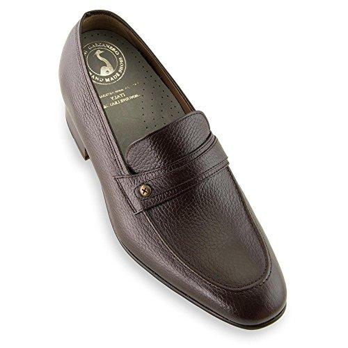Masaltos scarpe con rialzo da uomo che aumentano l'altezza fino a 7 cm. fabbricate in pelle. modello bruxelles marrone 43