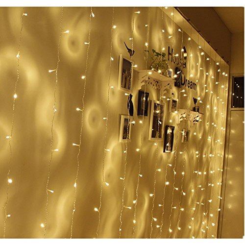 TOFU Lichtervorhang Sterne, Led Lichterkette fenster mit EU-Stecker, warmweiße Weihnachtsdeko für Vorhang, Weihnachten, Halloween, Hochzeit, Clubs, Kinderzimmer, zu Hause, Deko Party Innen/Außen - 6