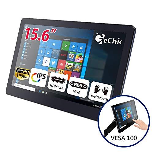GeChic 15 Zoll Tragbarer Touchscreen Monitor 15,6 Zoll Touch Screen Monitor Multitouch kapazitiv USB externer Bildschirm HDMI/ VGA 1080P IPS Pi Windows 10/7 VESA 100 Mount Rear Dock On-Lap 1503I