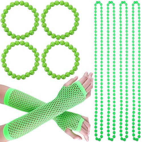 Blulu Grün Handschuh Halskette Armband Set St. Patrick's Tag Party Kostüm Zubehör, Einschließlich Grün Handschuhe, 4 Stück Grüne Perlen Halsketten, 4 Stück Grüne Perlen - St Patrick Tag Kostüm