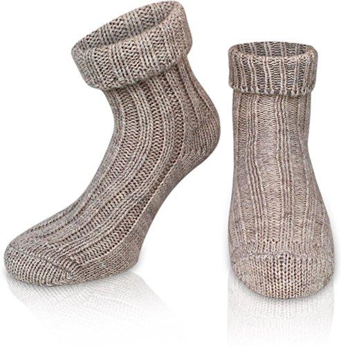 normani 2 Paar Sehr Warme weiche Umschlag Söckchen mit Alpaka Wolle/Bettsocken/Sauna Socken Farbe Beige Größe 35-38