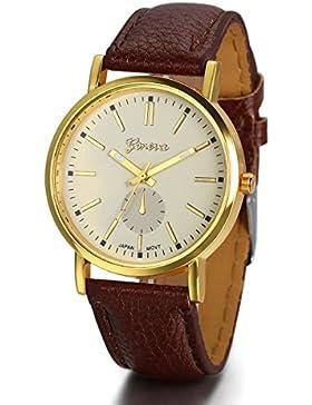 JewelryWe Herren Damen Armbanduhr, Einfach Klassiker Business Casual Analog Quarz Kaffee Leder Armband Uhr mit...
