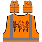 Lustige Tiere Einräder Personalisierte High Visibility Orange Sicherheitsjacke Weste h162vo