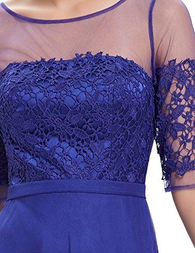 Ever Pretty Lace Halbtransparent V-Ausschnitt 1/2 Aermel Lang Chiffon Abendkleid 08459 Saphirblau