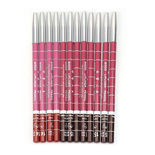 12Pcs Crayon à Lèvres Cosmétique Ligneur Résistant à L'eau Couleurs Différentes