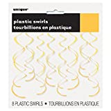 66cm Plastic Hanging Swirl Yellow Party Decorations, Pack of 8