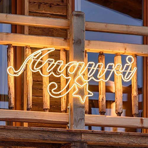 Decorazione luminosa auguri luce natale neon bifacciale led esterno addobbi natalizi 115 cm