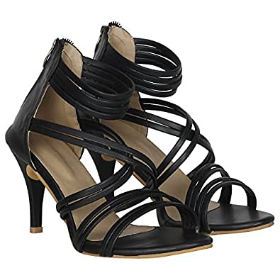 MISTO VAGON Women and Girls HIGH Heels Sandals Party WEAR Sandals HIGH Heels Slippers HIGH Heels Formal Sandals with Patent Leather Upper and Synthetic Leather Upper VJ1262 (36, Black)