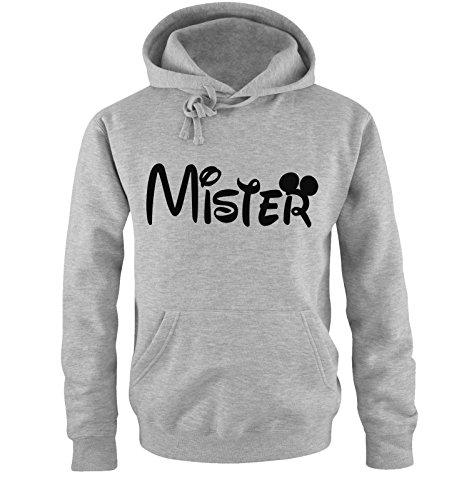 *Comedy Shirts – MISTER – Mickey – Herren Hoodie – Grau / Schwarz Gr. M*