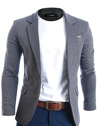 FLATSEVEN Herren Slim Fit Freizeit Premium Blazer Sakko (BJ102) Grau,