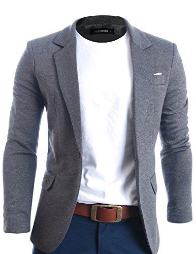 FLATSEVEN Herren Slim Fit Freizeit Premium Blazer Sakko Grau