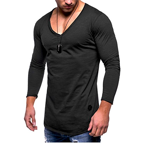 Wide Neck Tee (Hot Cotton V Neck T Shirts for Men Long Sleeve Solid Plain Classic Fashion Slim Fit)