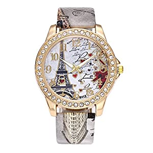 Damen Paris Eiffelturm Uhren Vintage Elegant Uhr Strass Diamant Einlage Leder Band Analog Quarz Armbanduhr Groveerble