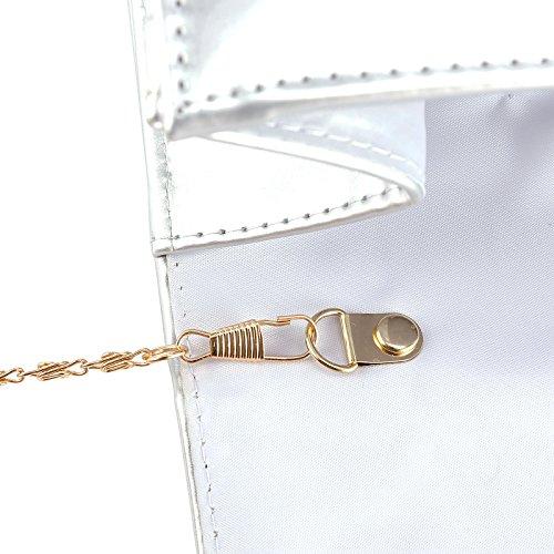 Umhaengetasche klasse schicke Handtasche Clutch Bag Kunstleder Abendtasche Schulertasche 3 Farbe Farbe: Silber