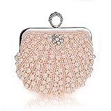 Harson&Jane Damen Perle-Tasche Hochzeit Handtasche Partei-Handtasche mit Kristall Weiß Schwarz Rosa (Champagner)
