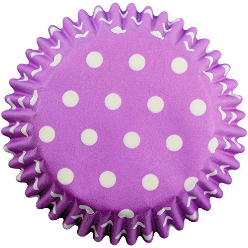 Pme - pirottini di carta a pois lilla per cupcake e muffin, 60 pezzi
