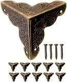 FUXXER - 10x Antik Möbel Ecken | Beschläge für Kisten Boxen Möbel Regal Tisch | Vintage Messing Antik Optik | inkl.40 passende Nägel