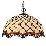Lampada a sospensione in stile Tiffany, 16 pollici di vetro colorato Tandem borda la lampada a sospensione Ombra, Soggiorno camera da letto Decorazione Singola testa 1 Lampada Illuminazione Plafoniera