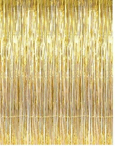 AMOYER Goldmetallischer Tinsel Foil Fringe Vorhänge für Party-Foto-Hintergrund Hochzeit Dekorationen (1er-Pack)