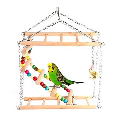 Hypeety Bird Bois Double Perchoir Échelle puzzle jouet de luxe pliable Échelle pour petite perruche calopsitte Conures Aras perroquets inséparables pinsons balançoire Perchoir Définit Jouets