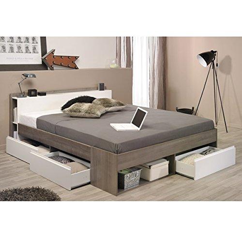 Funktionsbett 160*200 cm eiche-silber grau / weiß inkl 3 Roll-Bettkästen Kinderbett Jugendbett Jugendliege Bettliege Bett Jugendzimmer thumbnail