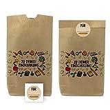 10 bedruckte Tüten zu Einschulung/mit passenden Etiketten/Papiertüten aus Kraftpapier für Geschenke, Mitgebsel, Süßigkeiten und Spielzeug/Erster Schultag/kleine Schultüte