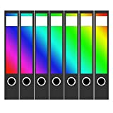 7 x Akten-Ordner Etiketten/Design Aufkleber/Rücken Sticker/mit Farbe Regenbogen Verlauf bunt/für schmale Ordner/selbstklebend / 3,7 cm breit